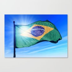 Brazil flag waving on the wind Canvas Print