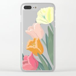 Bouquet of tulips in glass vase Clear iPhone Case