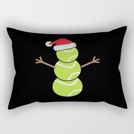 Christmas Snowman Tennis Santa Hat Rectangular Pillow