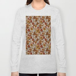 Retro 70s boho hippie orange flower power Long Sleeve T-shirt