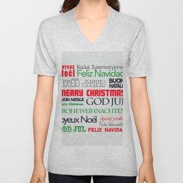 Typography Merry Christmas Feliz Navidad Frohe Weihnachten Unisex V-Neck