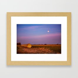 Hay Bales Under the Super Blue Blood Moon in Oklahoma Framed Art Print