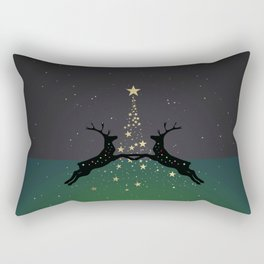 Champagne Gold Star Christmas Tree with Magical Reindeers - Emerald Green Rectangular Pillow