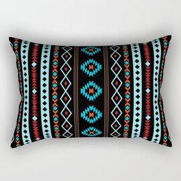 Aztec Blues Reds Black Mixed Motifs Pattern Rectangular Pillow
