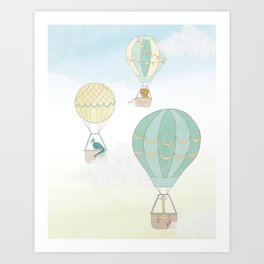 Up & Away, a Hot Air Balloon Adventure on a Blustery Day Art Print