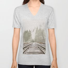 Railway in the forest Unisex V-Neck