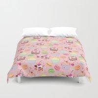 macaroon Duvet Covers featuring sweet pattern aka cake , cupcake and macaroon by Marta Olga Klara