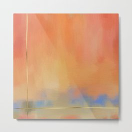 Abstract Landscape With Golden Lines Painting Metal Print