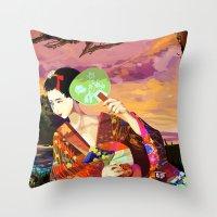 kitsune Throw Pillows featuring Kitsune by Sandpaperdaisy