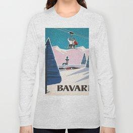 Bavaria, Germany Vintage Ski Travel Poster Long Sleeve T-shirt