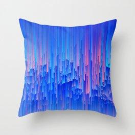 Glitchy Rain - Abstract Pixel Art Throw Pillow