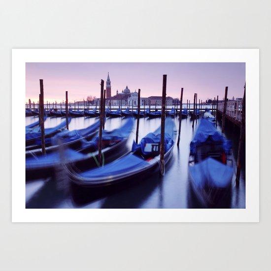 Moored Gondolas in Venice Art Print