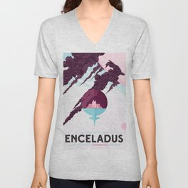 Enceladus Retro Space Travel Poster muted mauve Unisex V-Neck