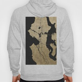 Seattle Black and Gold Street Map Hoody