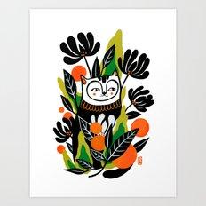 Mossy Cat Art Print