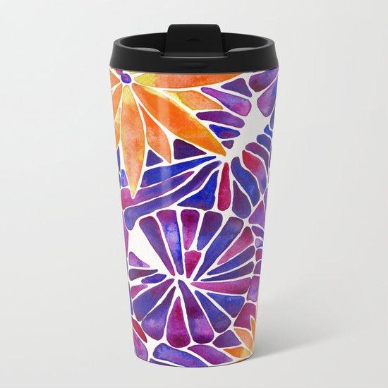 Water Lilies – Purple & Orange Palette Metal Travel Mug