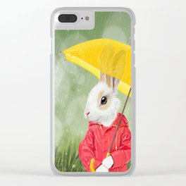 It's raining, little bunny! Clear iPhone Case