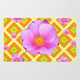 Yellow Pattern Lime on Pink Rose Abstract Rug
