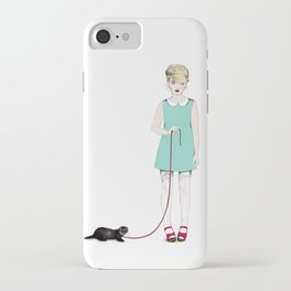 The girl with the ferret iPhone Case
