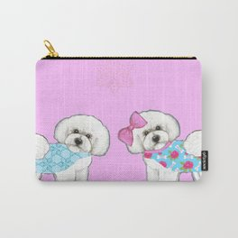 Bichon Frise Dogs in love- wearing pink and blue coats Carry-All Pouch