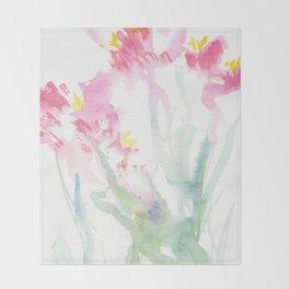Pink Watercolor Flowers Throw Blanket