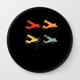 Colorful Silhouette Aeroplane Aircraft Wall Clock