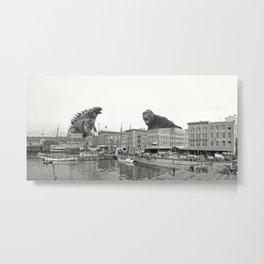 Godzilla and King Kong Rumble in Baltimore Metal Print
