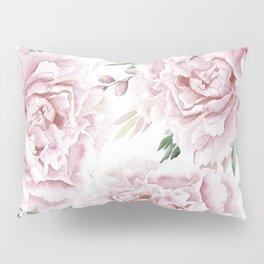 Girly Pastel Pink Roses Garden Pillow Sham
