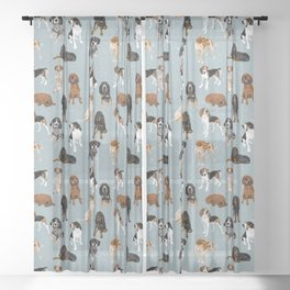 Coonhounds on Blue Sheer Curtain