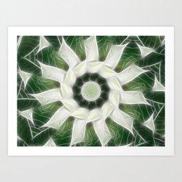 White Poinsettias Kaleidoscope 3 Art Print