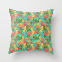 pineapples Throw Pillows featuring Pineapples by Laura Barnes