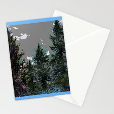 BABY BLUE WESTERN PINE TREES  LANDSCAPE Stationery Cards