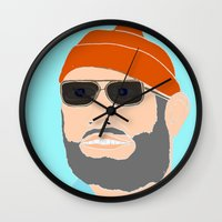 the life aquatic Wall Clocks featuring life aquatic  by Chad spann