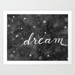 Watercolor galaxy dream - black and white Art Print