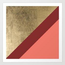 Modern gold foil burgundy peach color block geometric stripes pattern Art Print