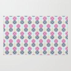 Floral Geometric - Navy & Pink Rug
