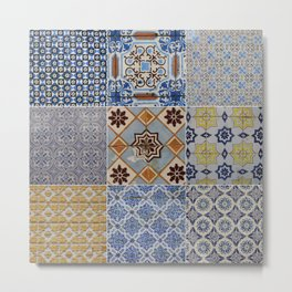Porto Tiles Collage Metal Print