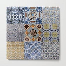 Porto Tiles Collage Metal Print