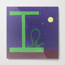 I is for Inchworm Metal Print