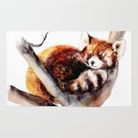 red panda Area & Throw Rugs featuring Red Panda by Anna Shell