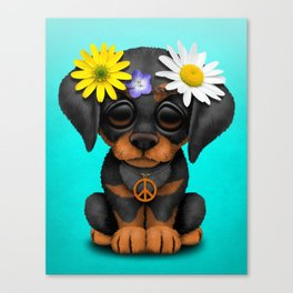 Cute Doberman Puppy Hippie Canvas Print
