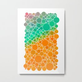 Green Forest Sunrise Orange Geometric Polka Dot Pattern Metal Print
