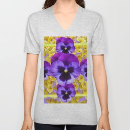 PURPLE PANSIES IN YELLOW FLORAL GARDEN Unisex V-Neck