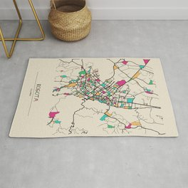 Colorful City Maps: Bogota, Colombia Rug