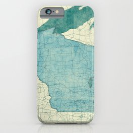 Wisconsin State Map Blue Vintage iPhone Case