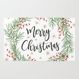 Merry Christmas wreath with red berries Rug