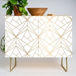 Geometric Gold Pattern With White Shimmer Credenza