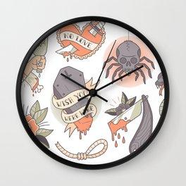 Traditional Tattoo Flash Sheet Wall Clock