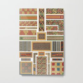 Vintage Colorful Ethnic Patterns Collection Metal Print