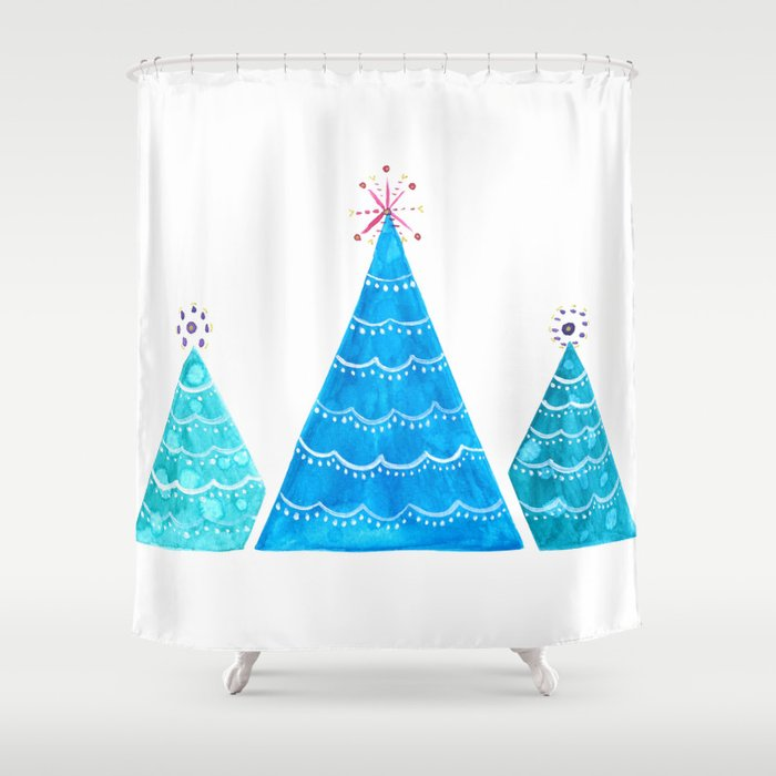 Blue Christmas Trees Shower Curtain